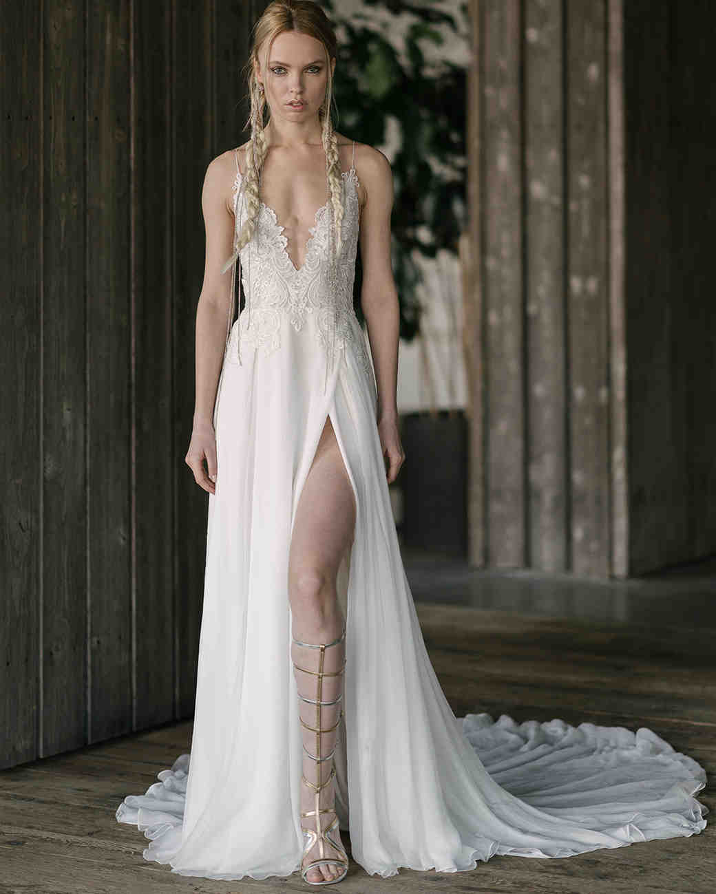 rivini by rita vinieris spring 2019 a-line wedding dress deep v-neckline and high slit