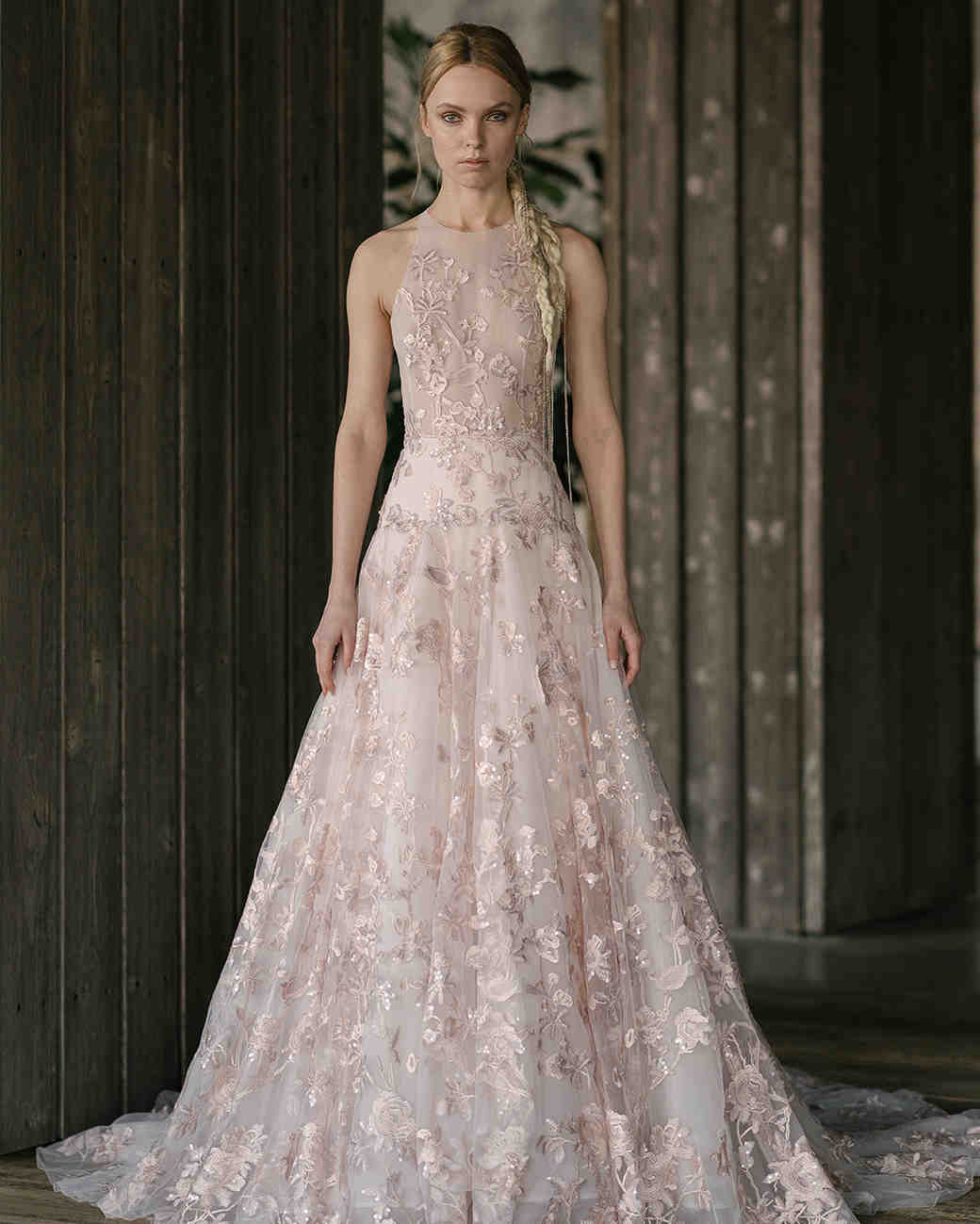 rivini by rita vinieris spring 2019 pink wedding dress with floral appliqués