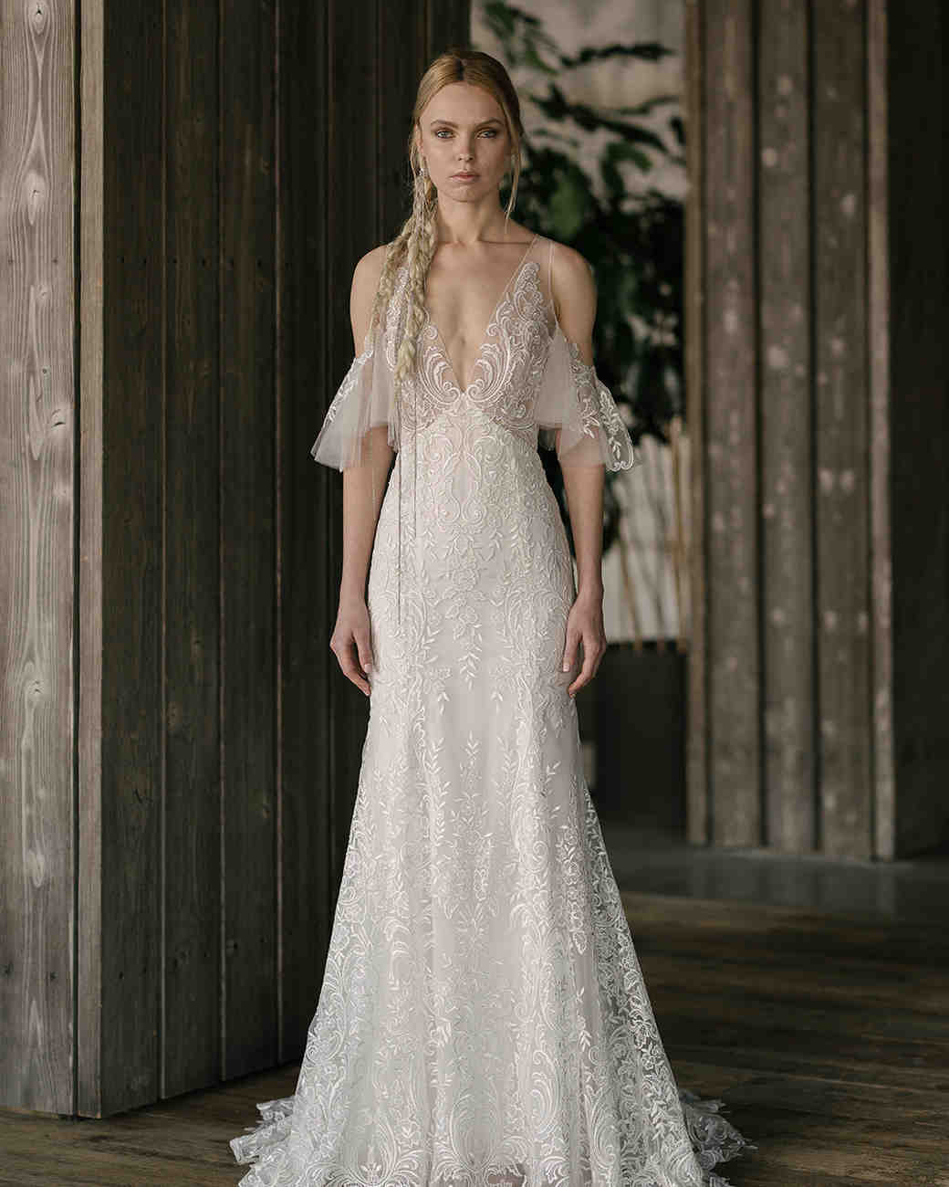 rivini by rita vinieris spring 2019 trumpet lace wedding dress with draped sleeves
