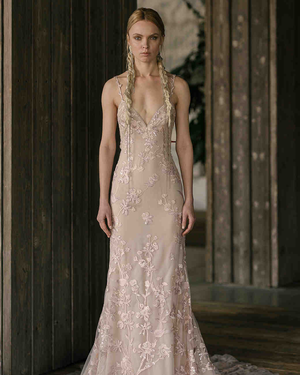 rivini by rita vinieris spring 2019 nude sheath wedding dress with floral appliqués