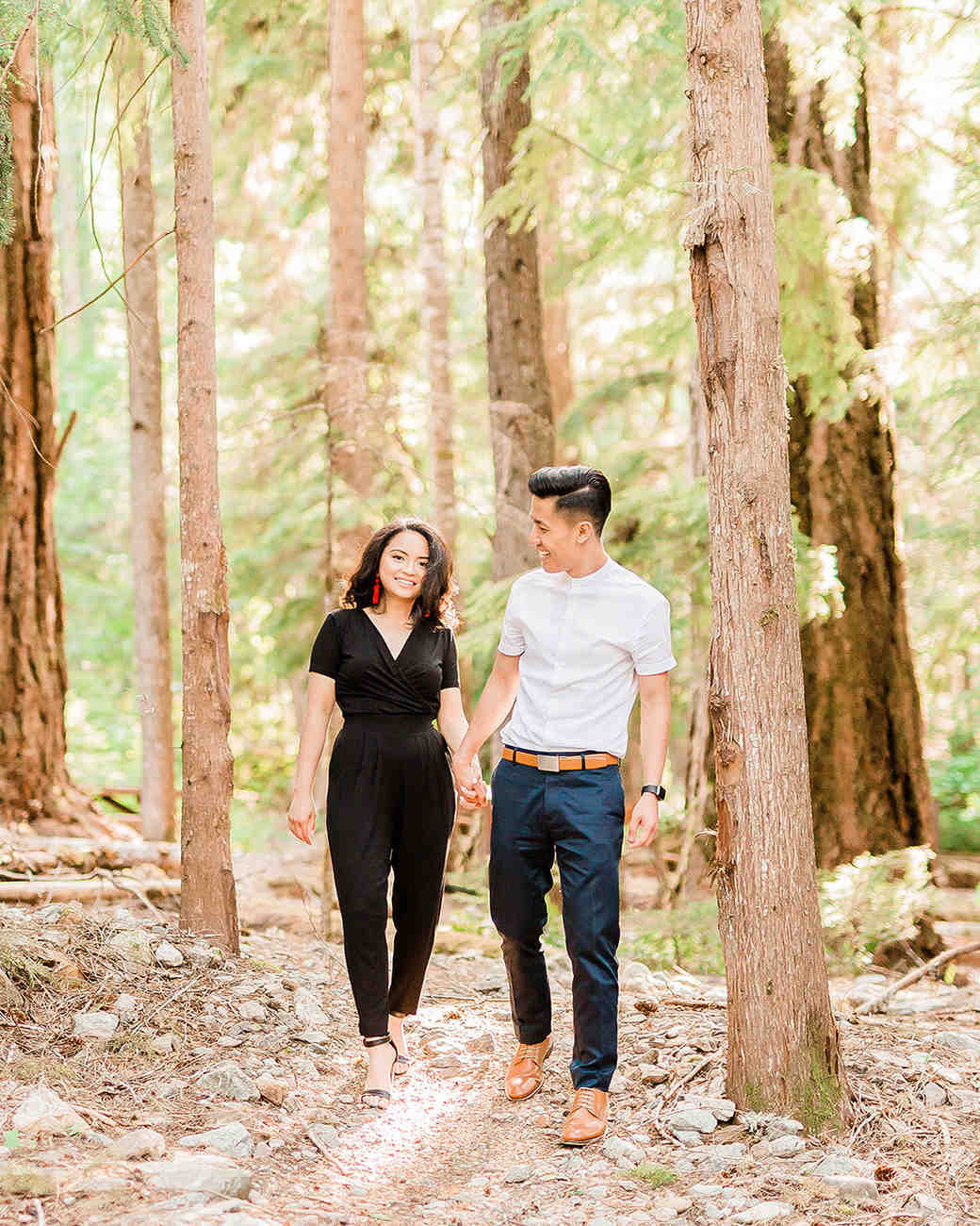 couple in nature engagement shoot