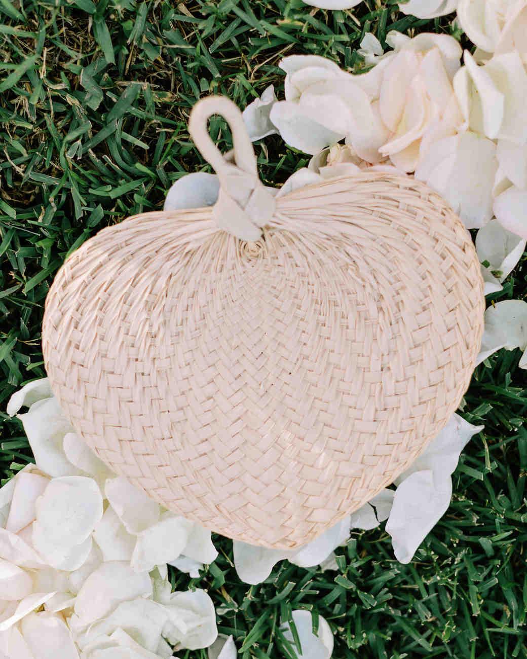Beach wedding woven fan wedding favors