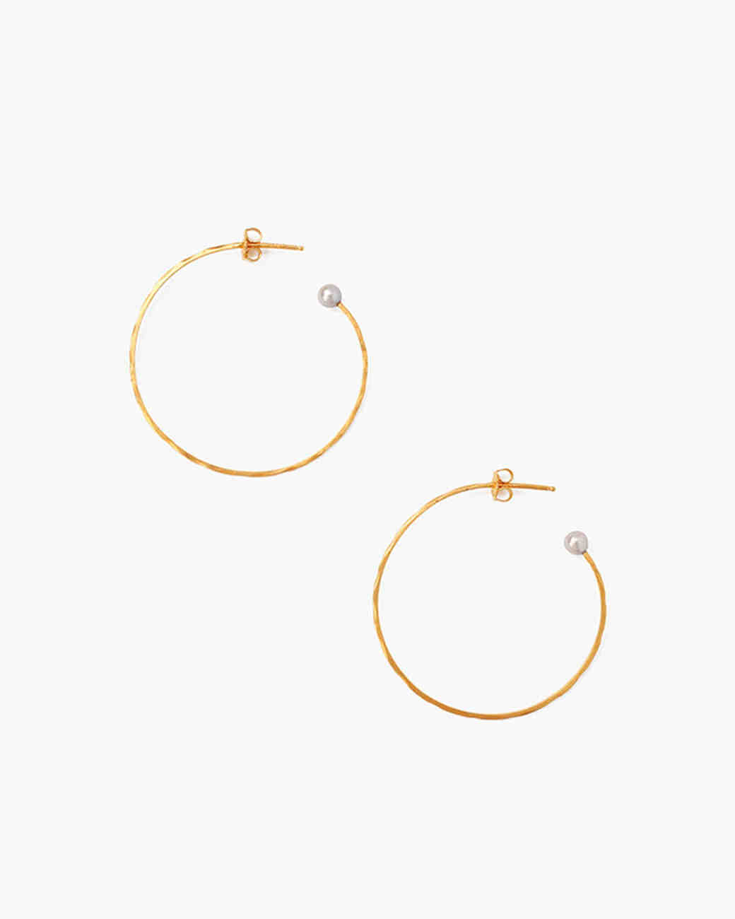 Chan Luu Hammered Hoop Earrings with Pearls