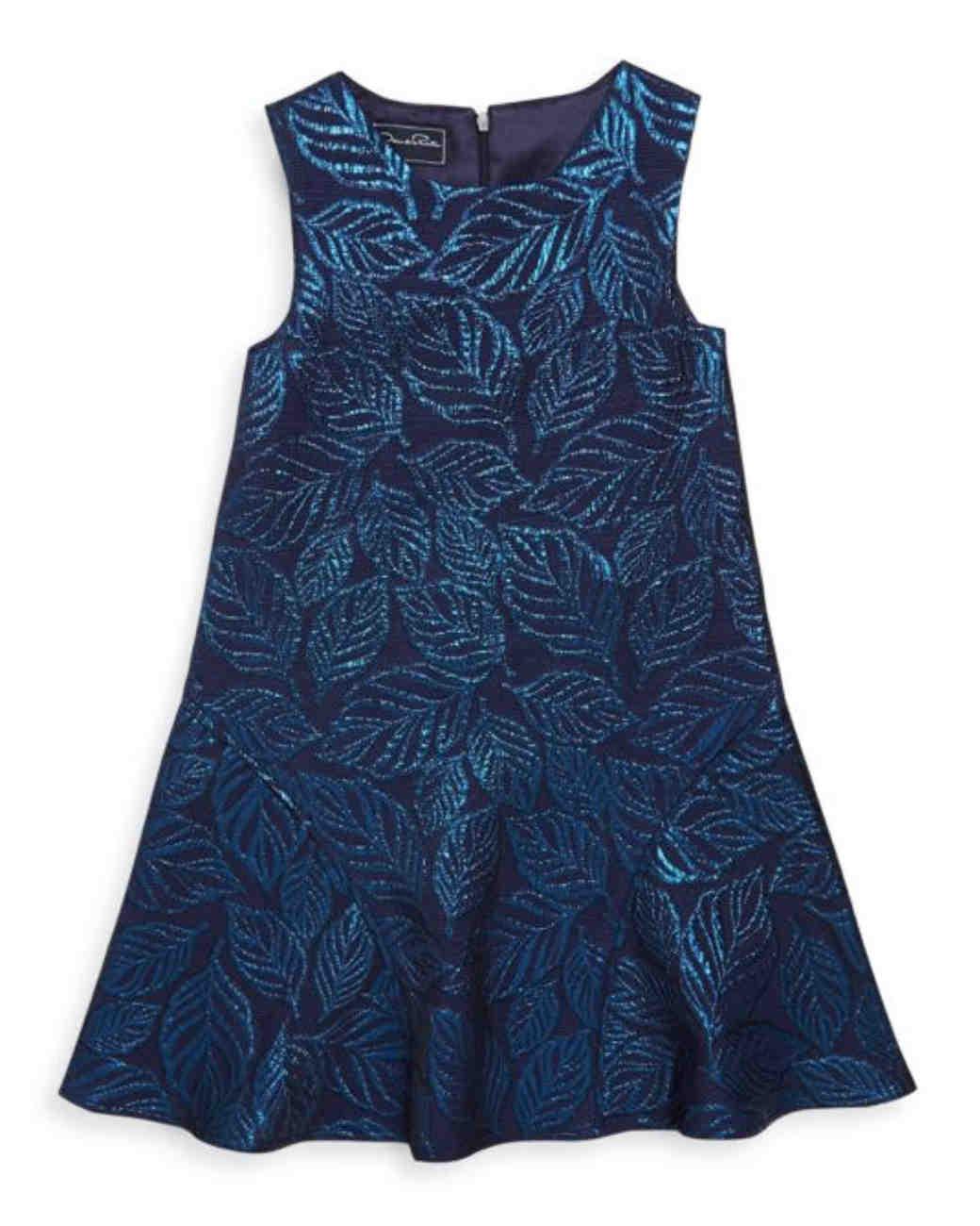 blue metallic flower girl dress