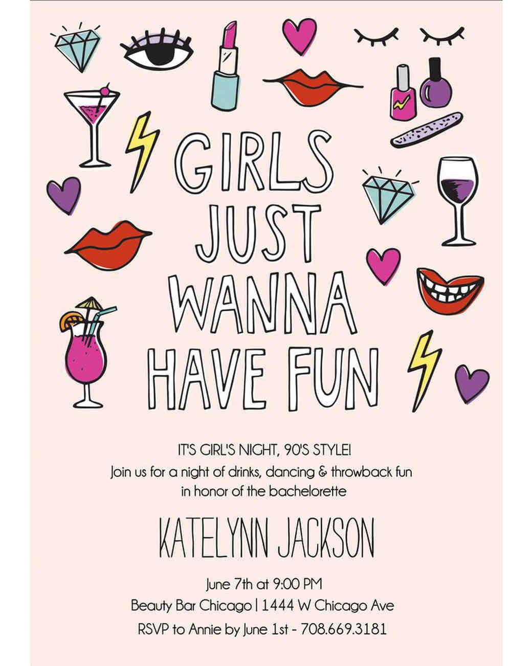 bachelorette party invites paper source have fun