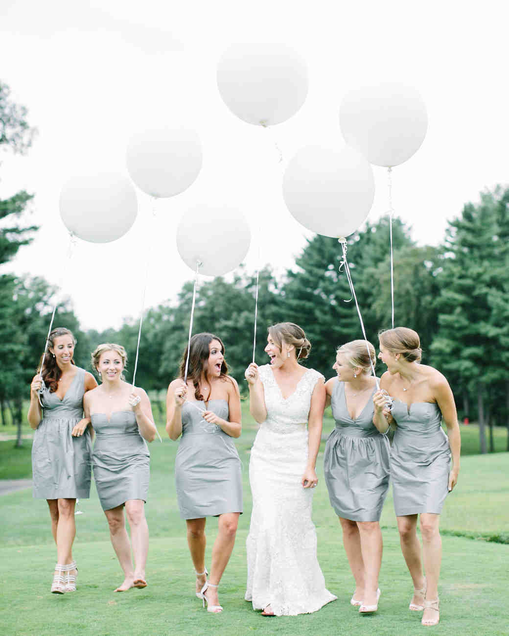 bridesmaids white balloons