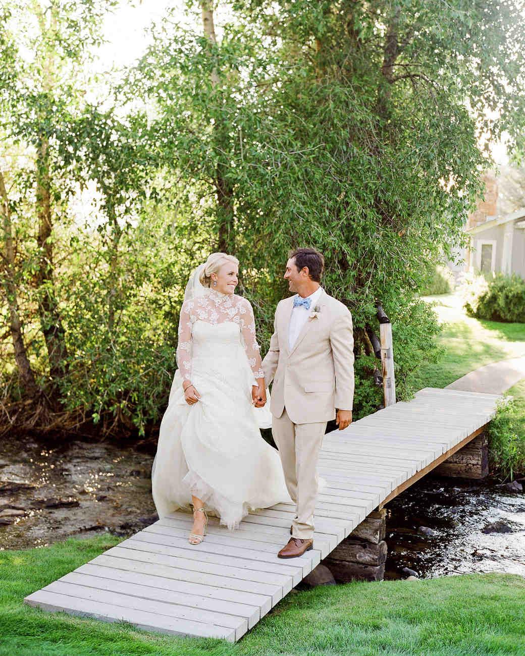 bessie john wedding couple on bridge