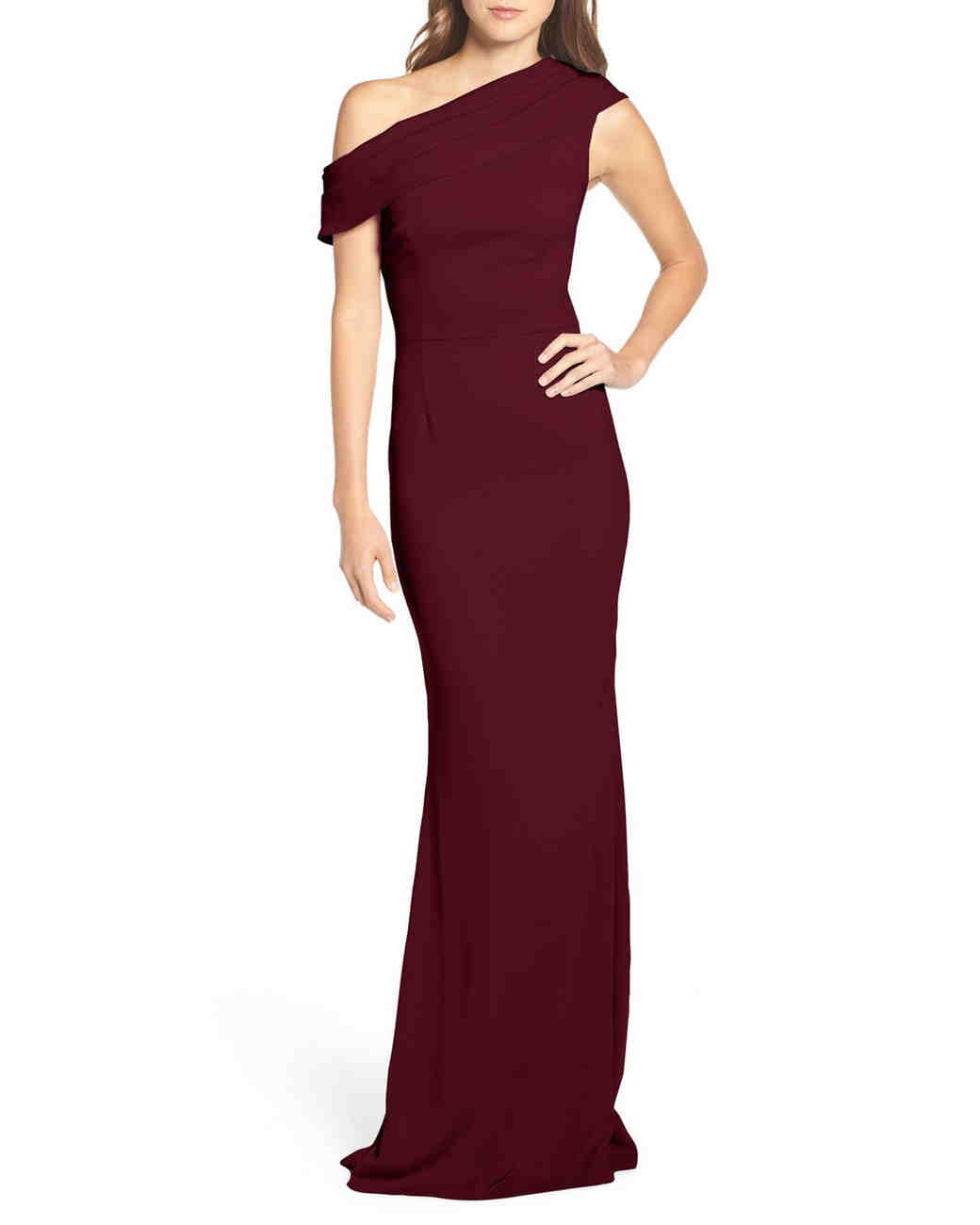 "burgundy bridesmaid dress – Katie May ""Pleat One-Shoulder"""