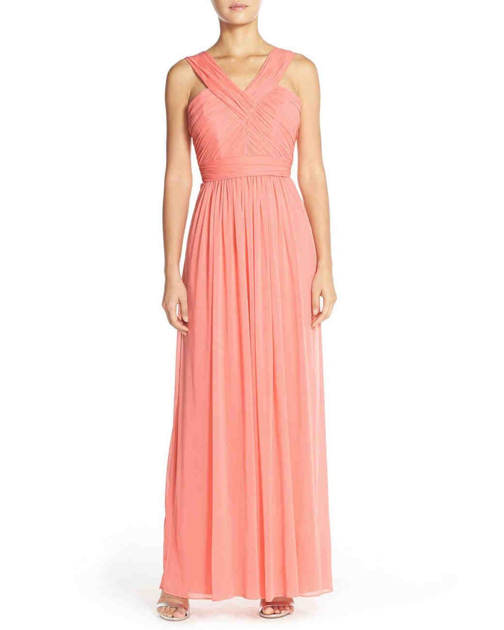 coral bridesmaid dress alfred sung shirred vneck