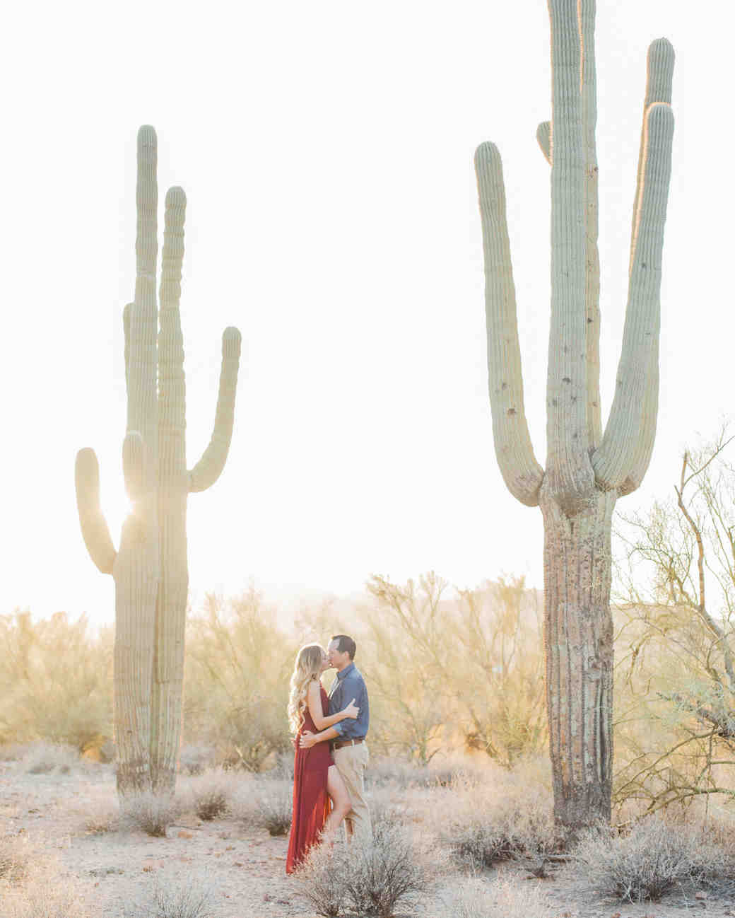 destination engagement couple superstition mountains tall cacti