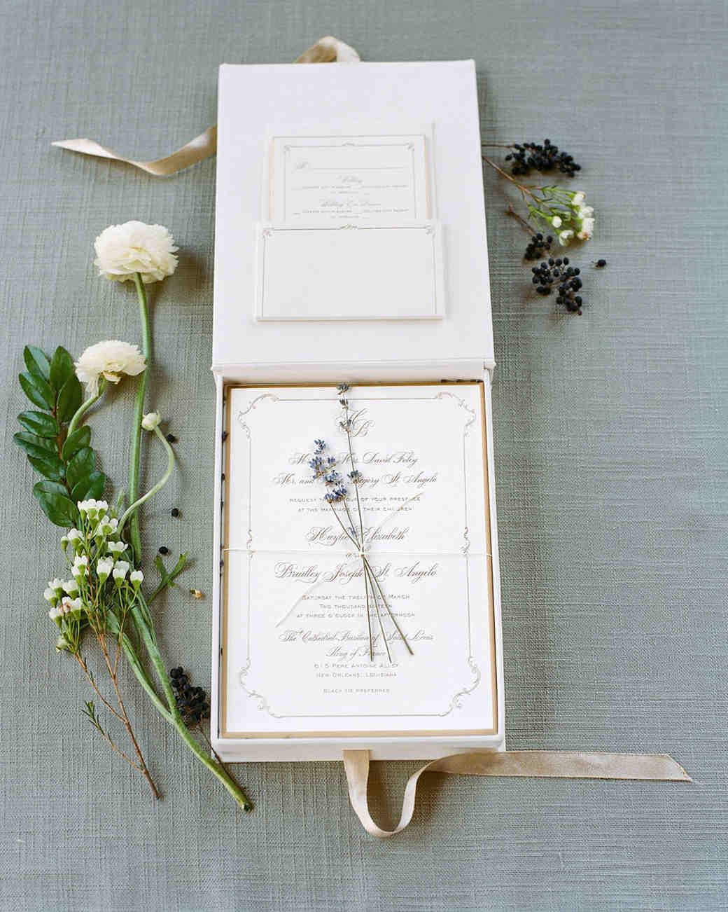 Elegant White Spring Wedding Invitation with Lavender Sprig