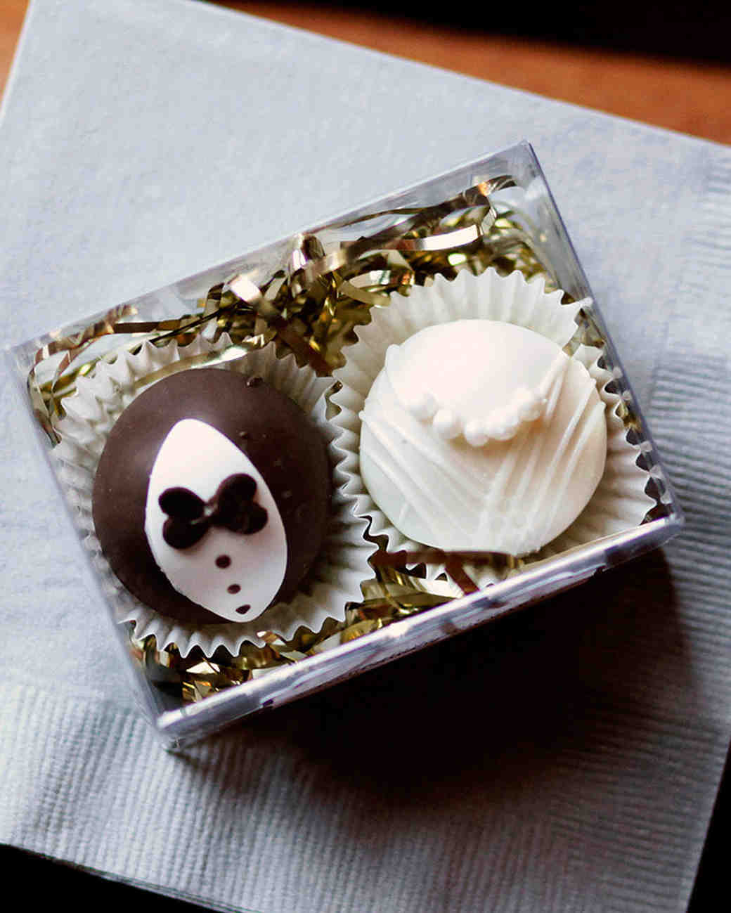Black Tie Bride and Groom Truffle Wedding Favors