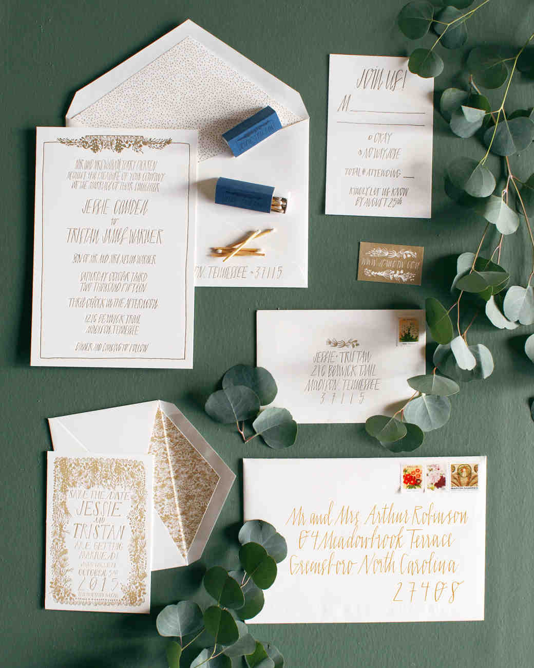 jessie tristan wedding tennessee stationery