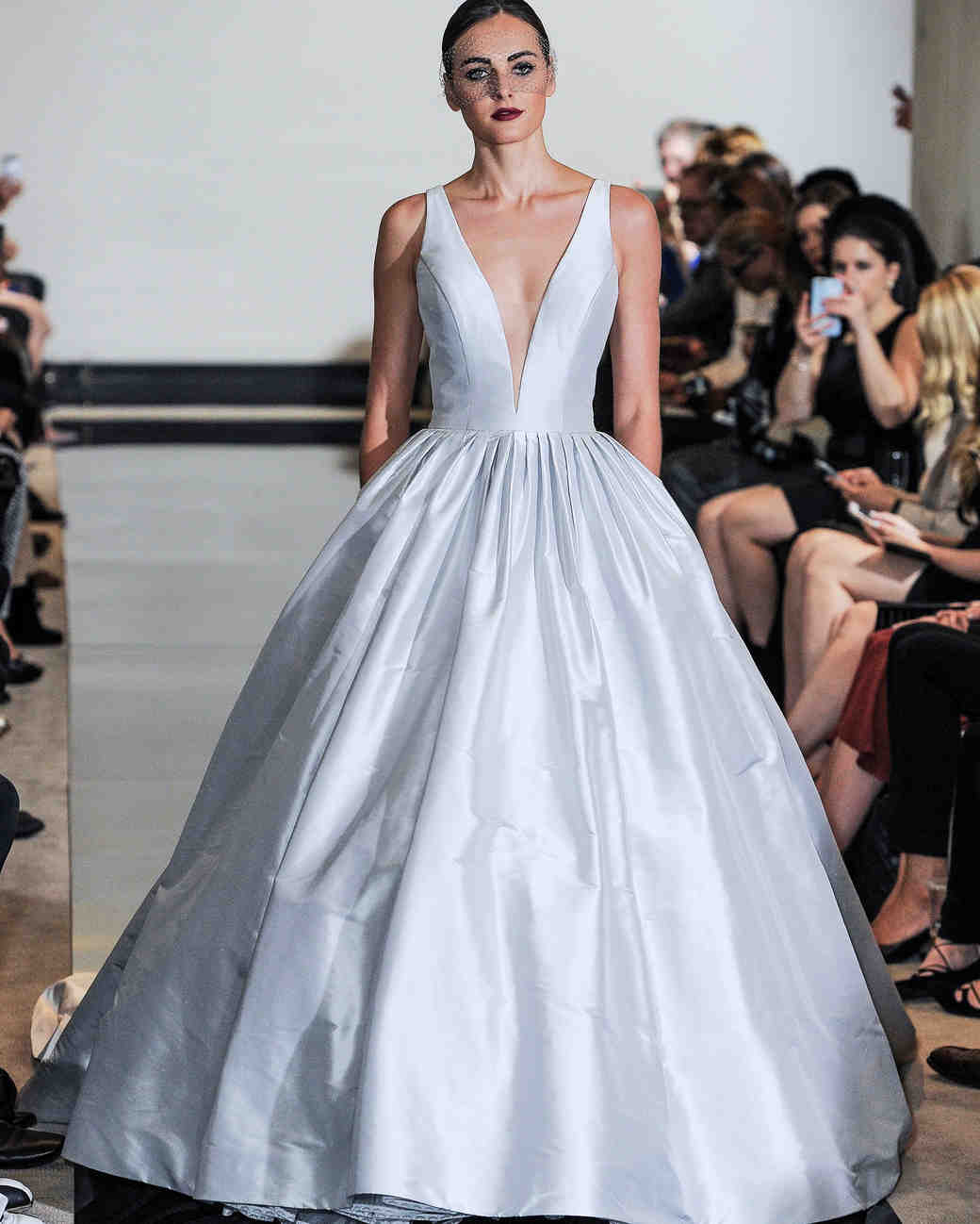 Justin Alexander Ball Gown Wedding Dress with V-Neck Spring 2018