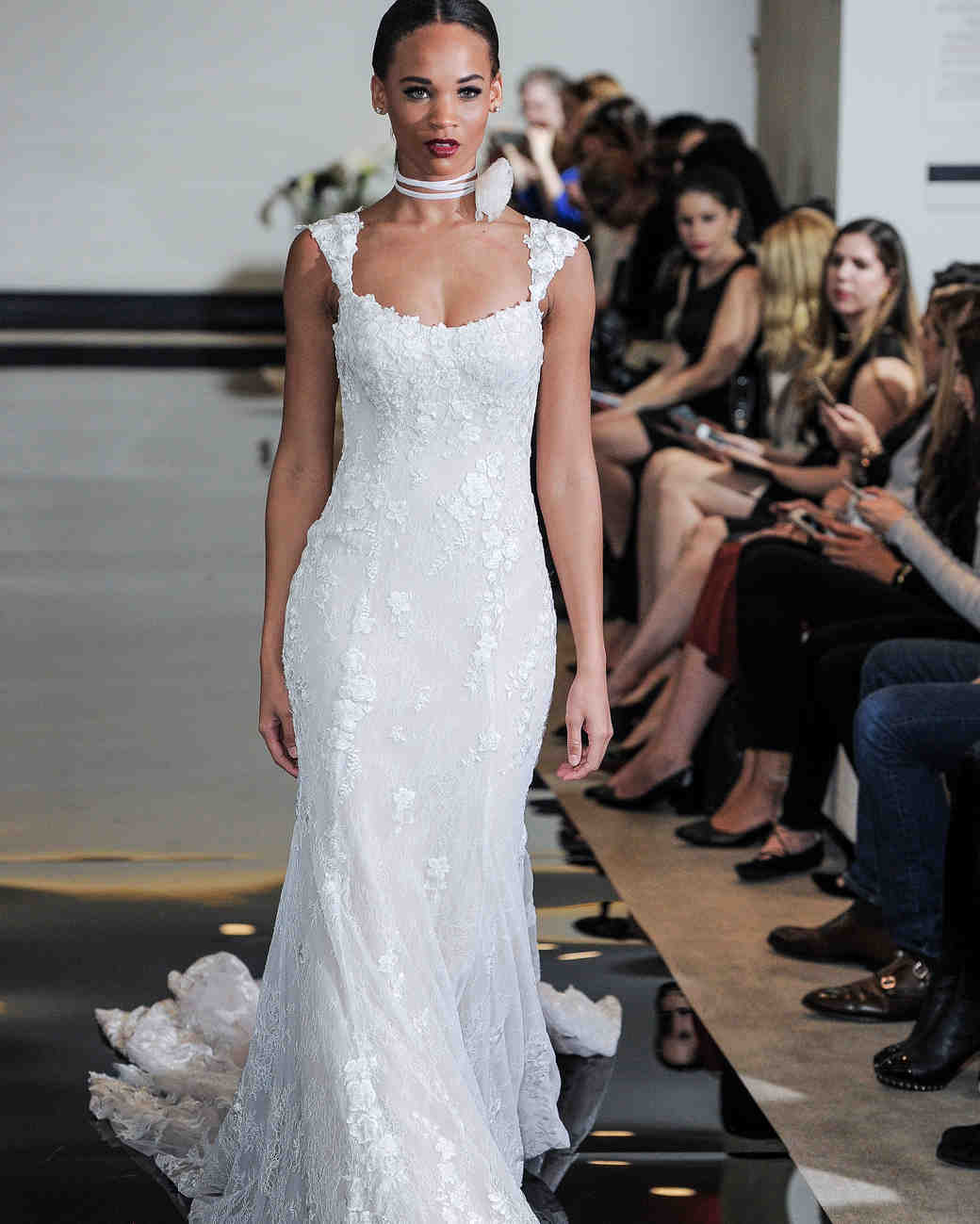 Justin Alexander Trumpet Wedding Dress with Lace Spring 2018