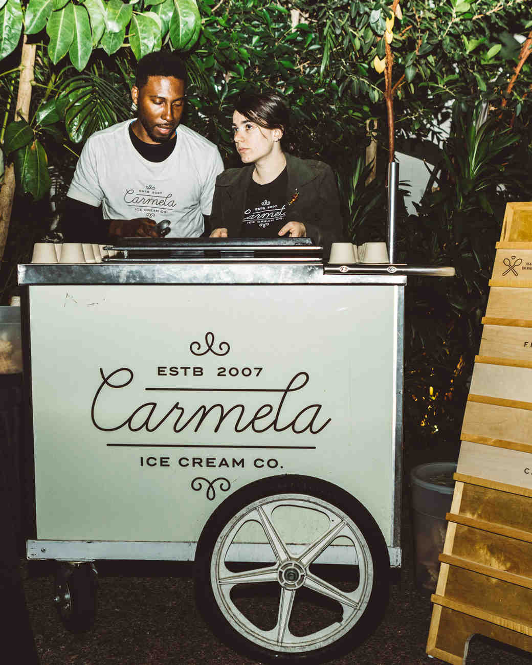 kaily matt wedding los angeles carmela ice cream cart