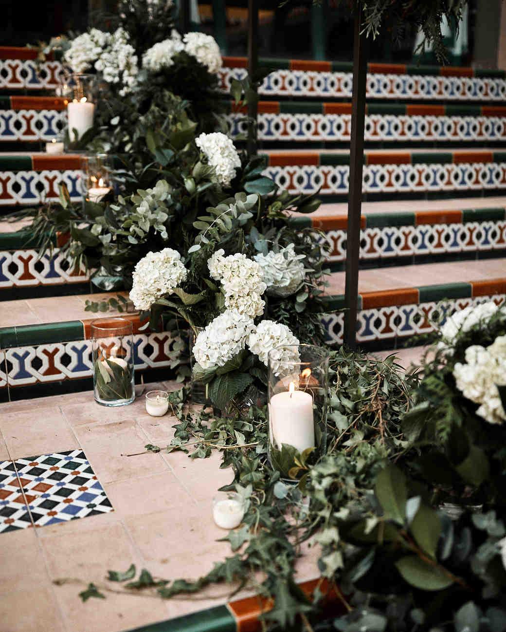 karolina sorab wedding flower arrangement on stairs