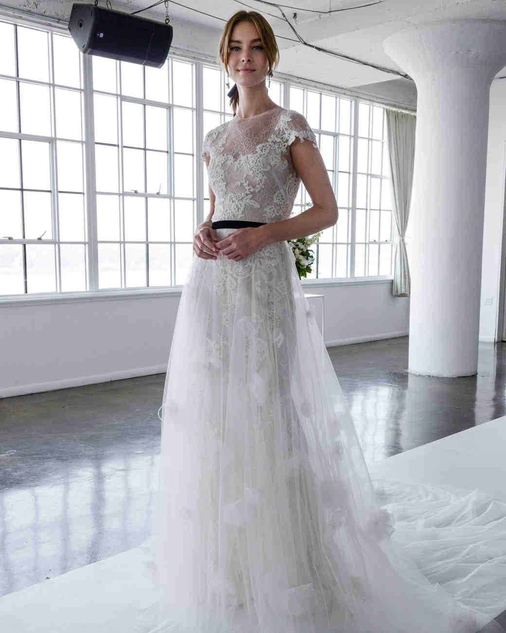 c9fc435ed59 marchesa spring 2018 lace and tulle wedding dress with floral applique  details