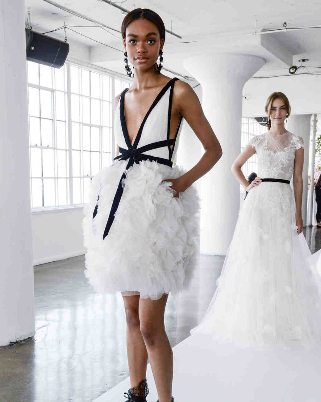 73 chic short wedding dresses martha stewart weddings marchesa spring 2018 cocktail length wedding dress with ruffled skirt junglespirit Gallery