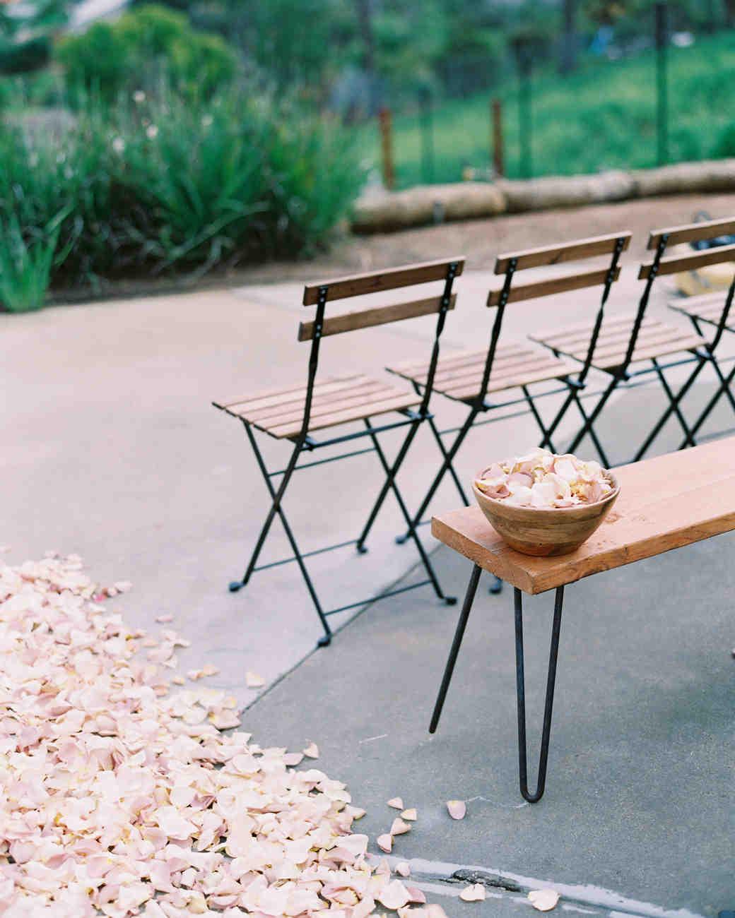 surprise wedding ceremony seating petals