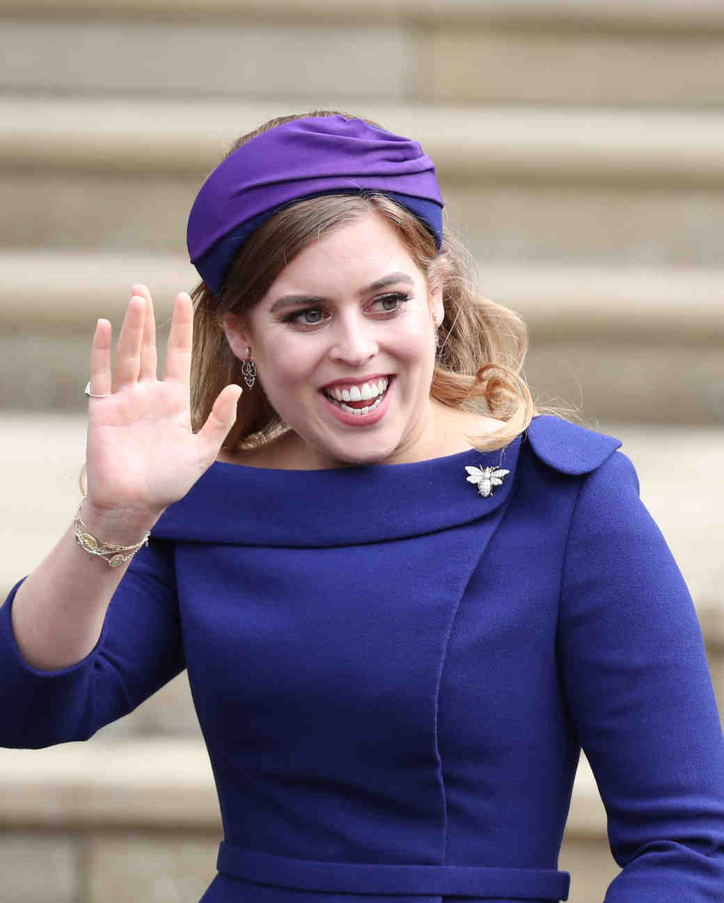 princess beatrice arrives at the wedding of her sister princess eugenie
