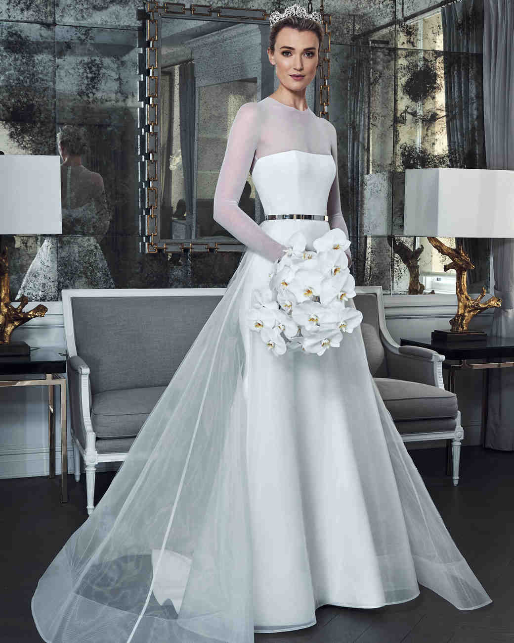 58e4513e3091 romona keveza collection wedding dress spring 2019 long sleeves illusion  belt a-line