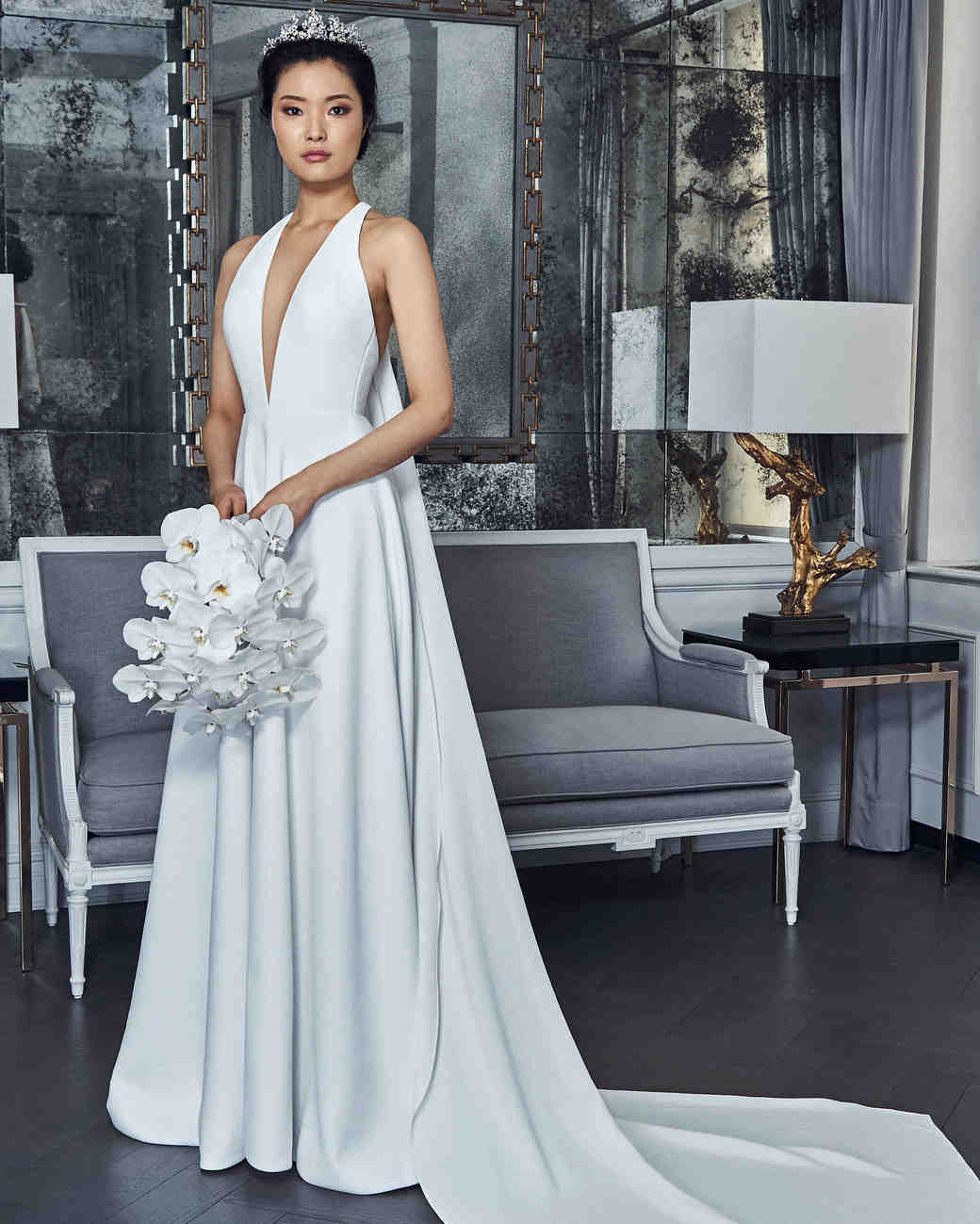 romona keveza collection wedding dress spring 2019 deep v a-line