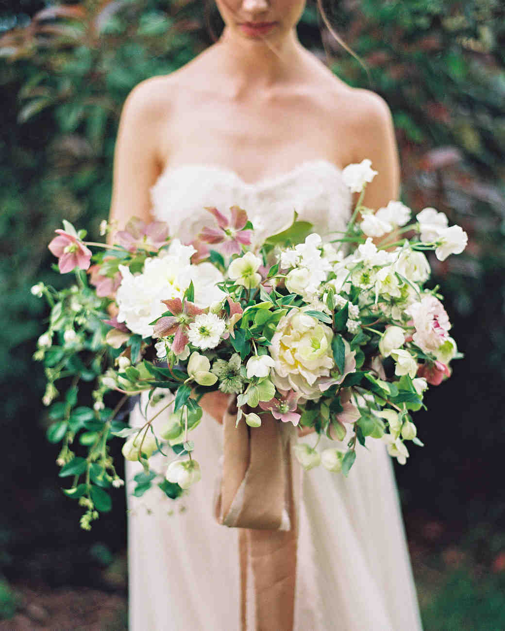 Bride Holding Spring Wedding Bouquet