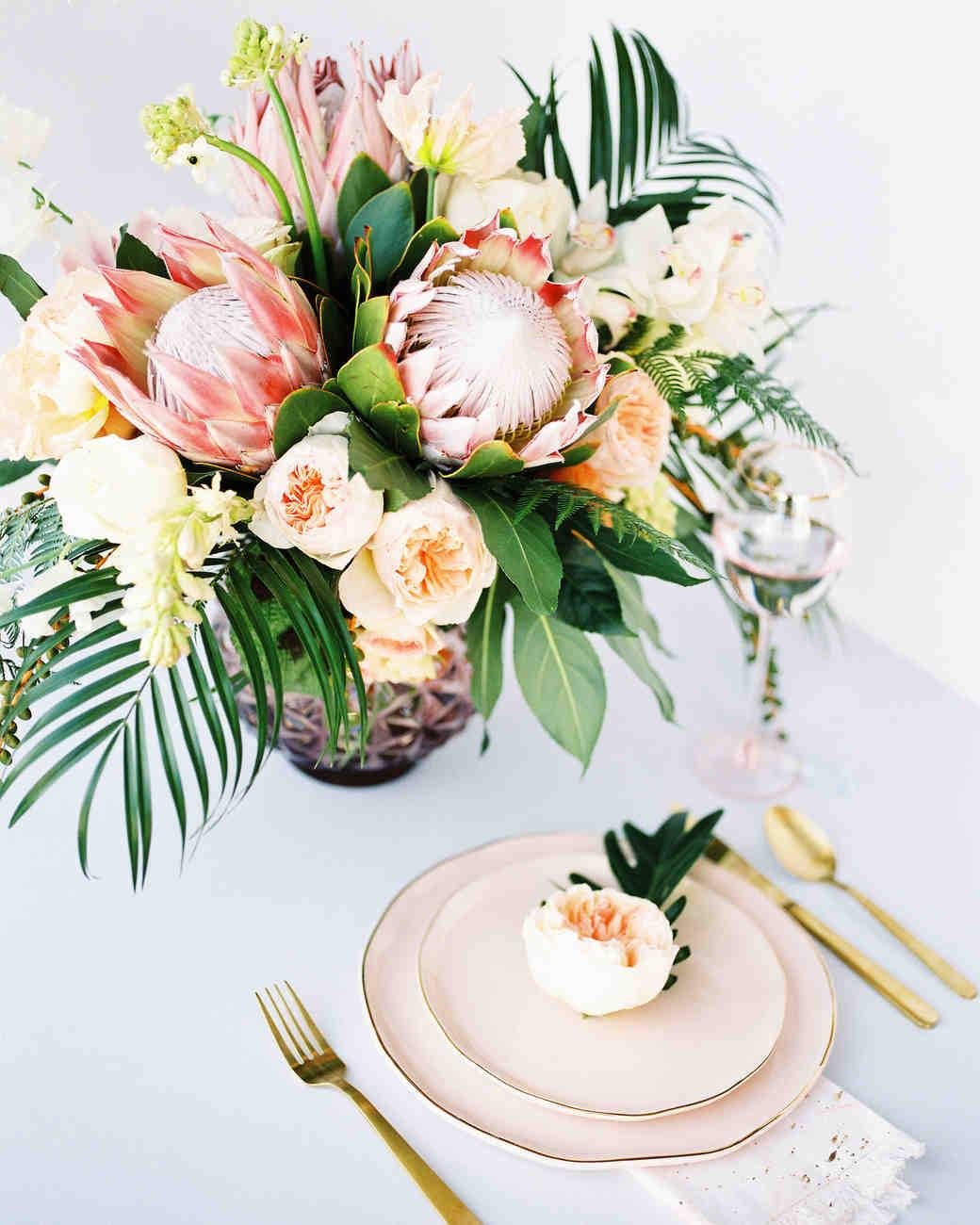 tropical wedding floral centerpieces