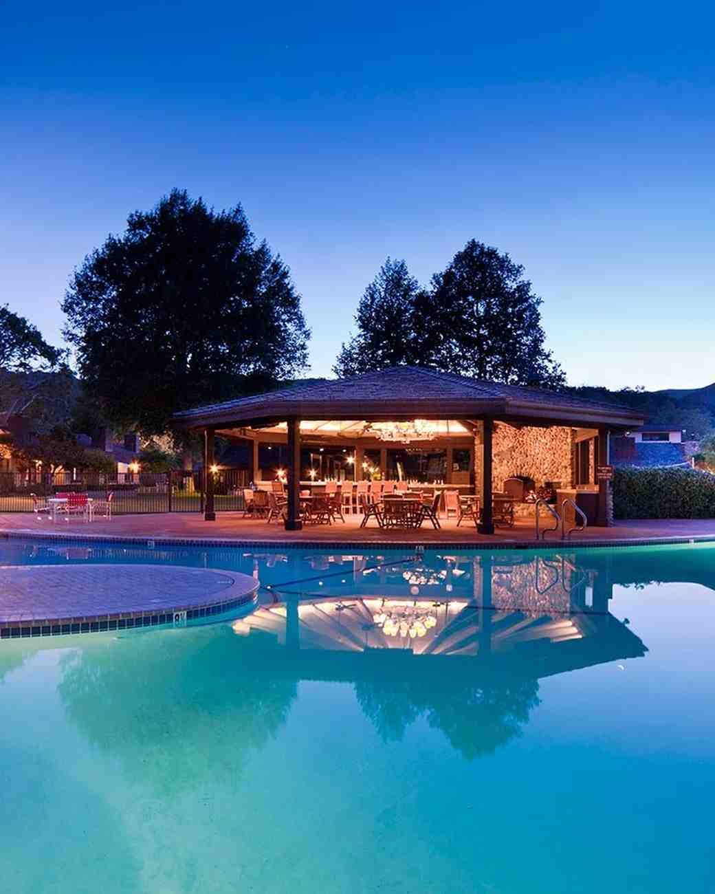 Outdoor pool at a bachelorette wellness retreat