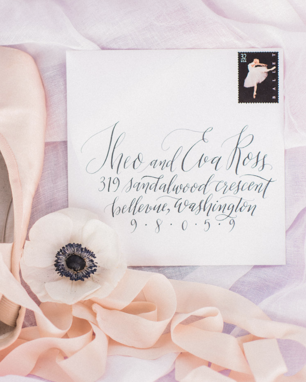 ballet stamped wedding invitation