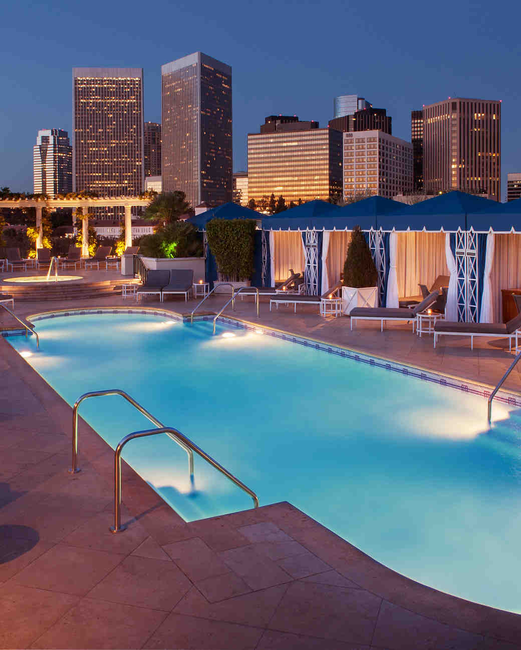 beverly hills bachelorette peninsula rooftop pool