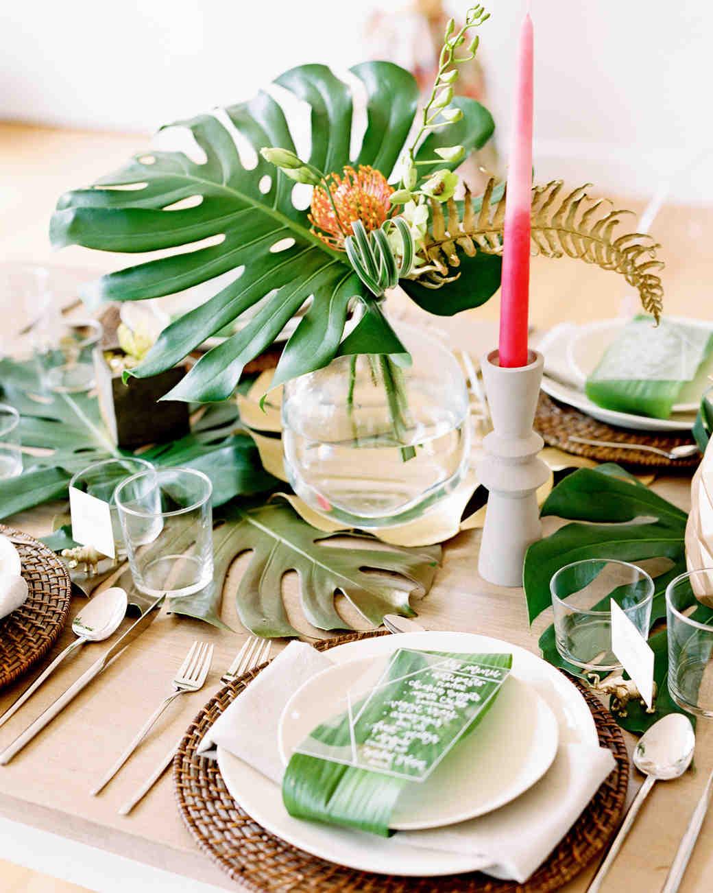 tropical leaf bridal shower centerpiece