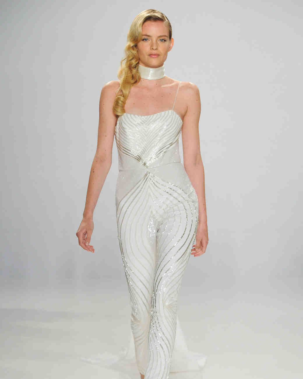 Patterned Wedding Jumpsuit with Sequins