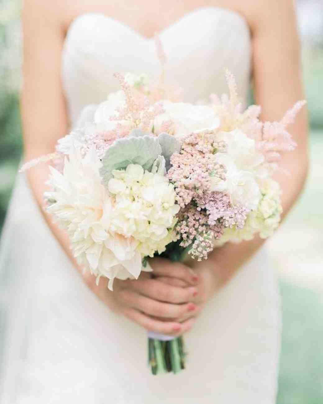 light dahlia wedding bouquet