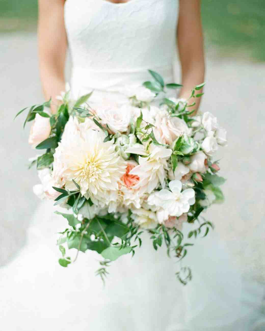 fresh dahlia wedding bouquet