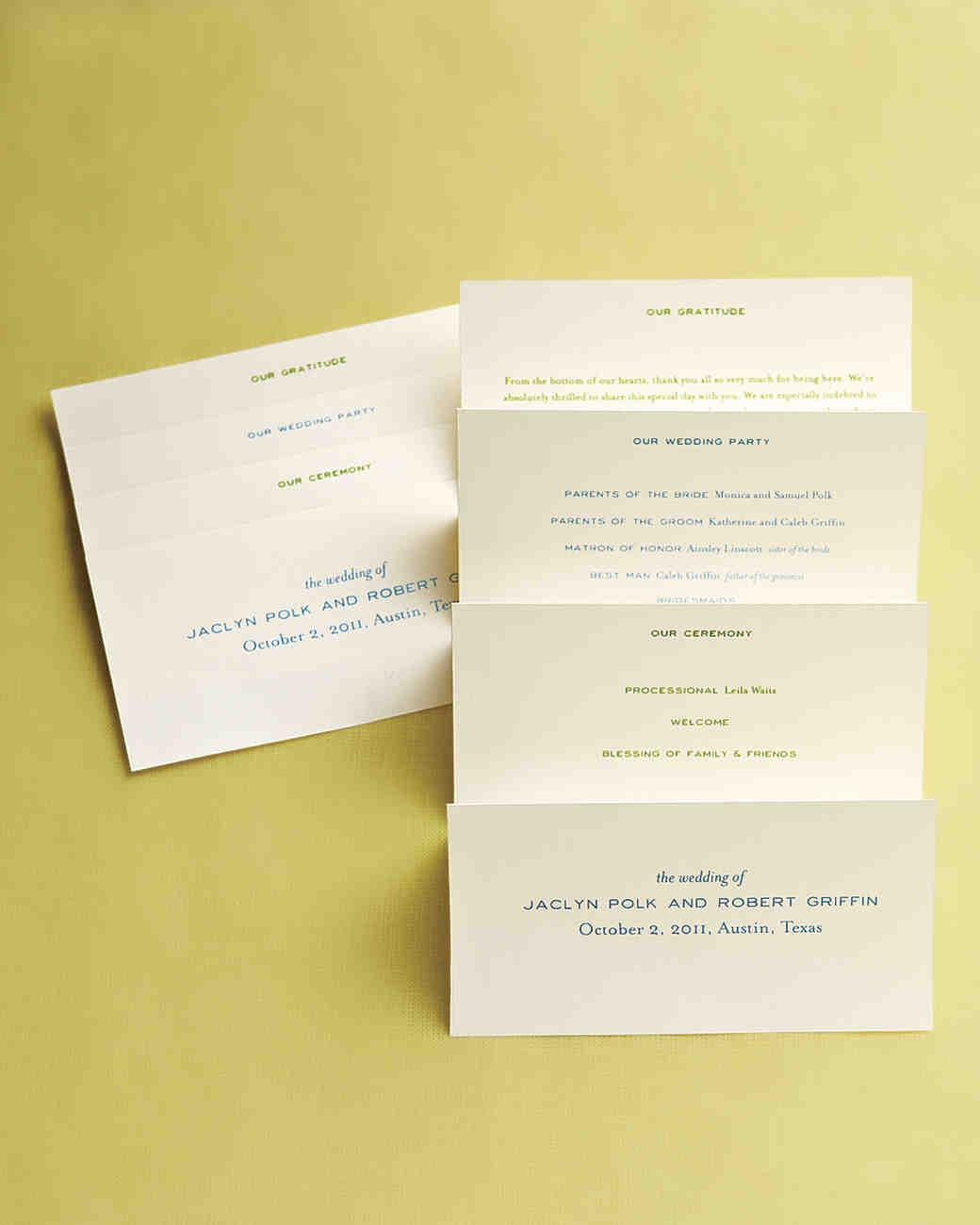 25 ways to upgrade your diy wedding programs martha stewart weddings solutioingenieria Images