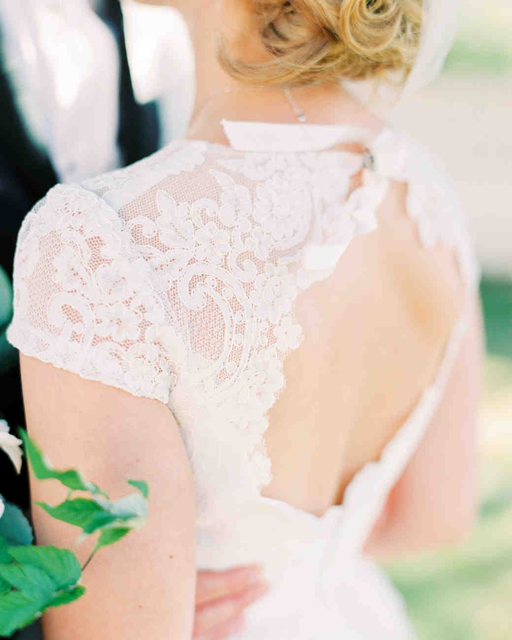 A Bride with an Open Back Wedding Dress
