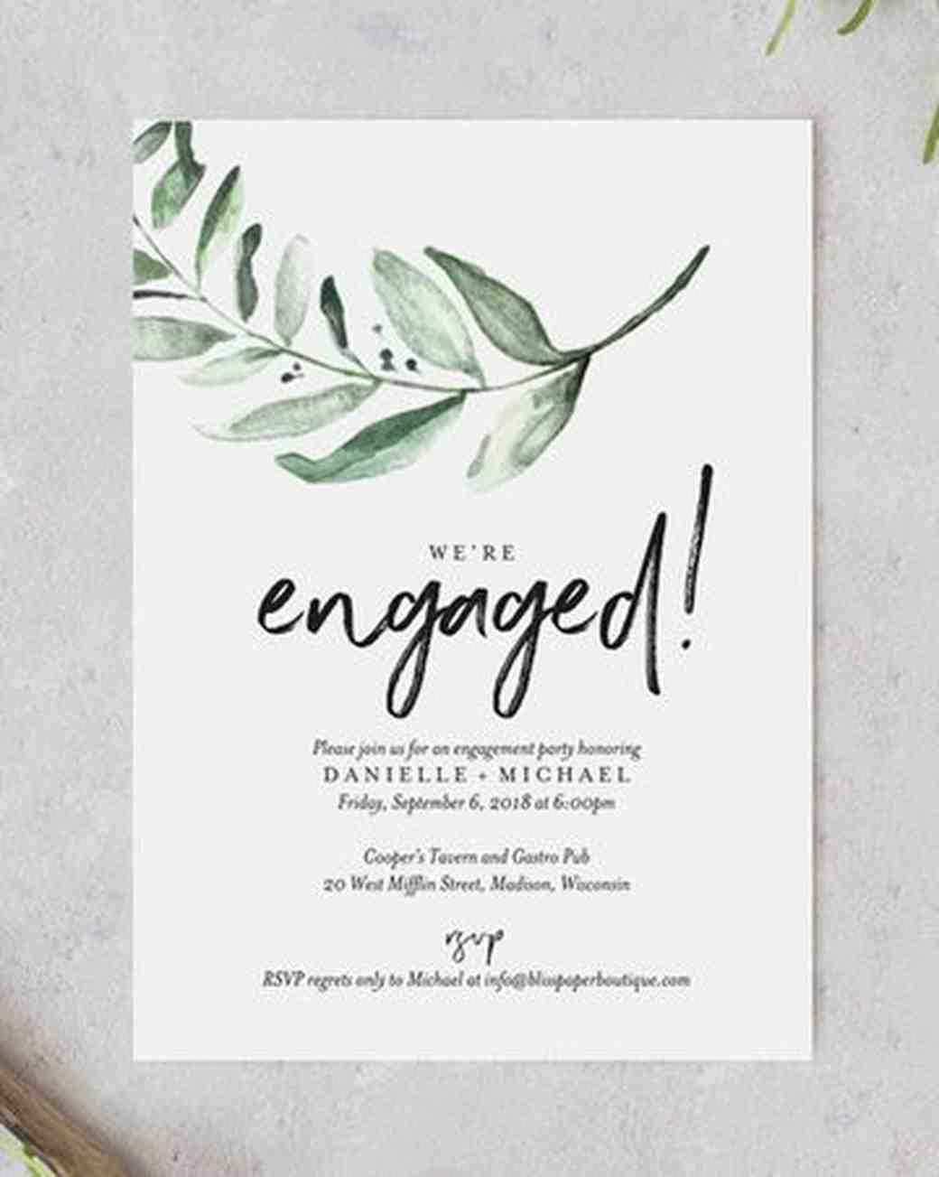 Bliss Paper Boutique Greenery Engagement Party Invitation