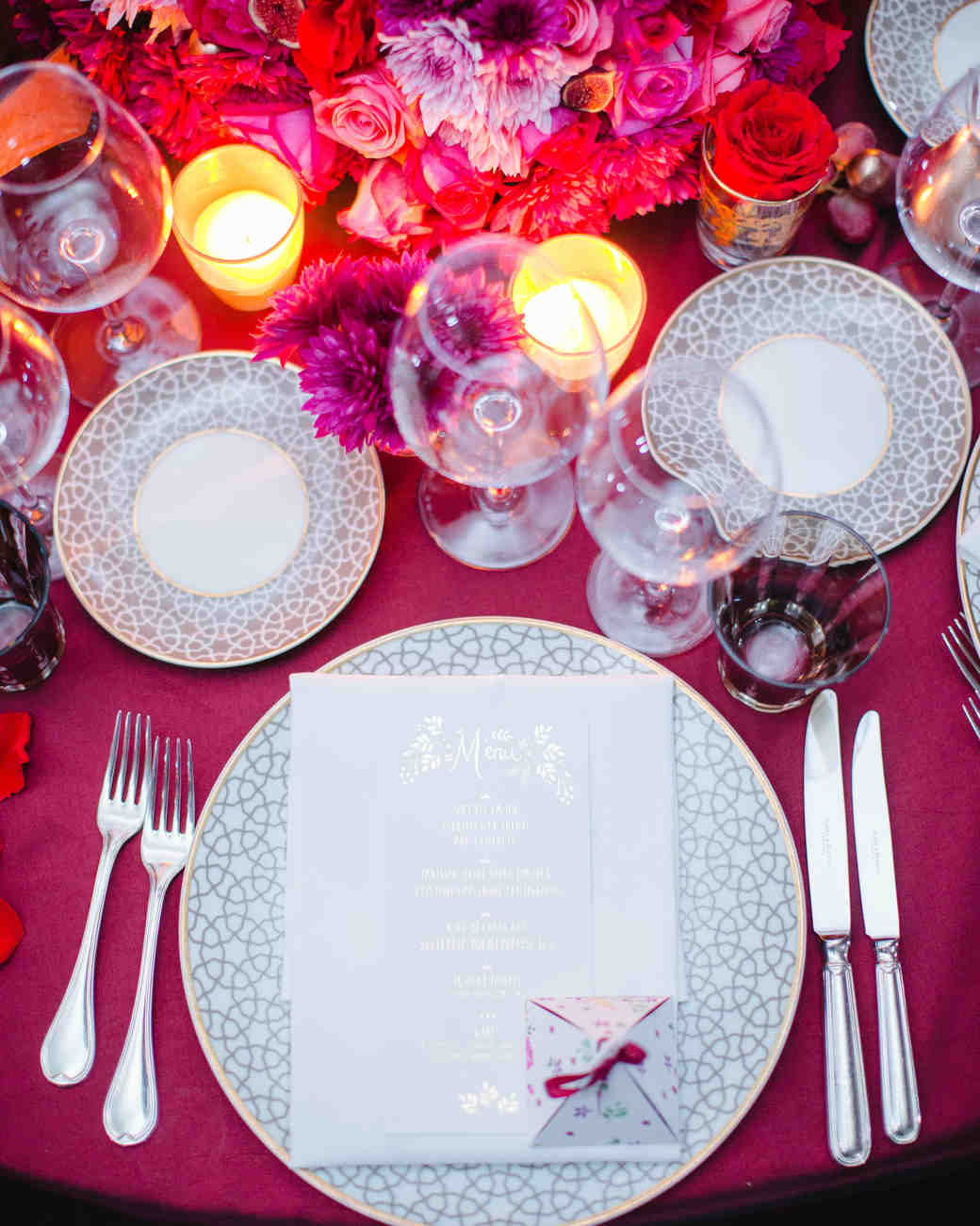 Bright Pink and Purple Table Setting