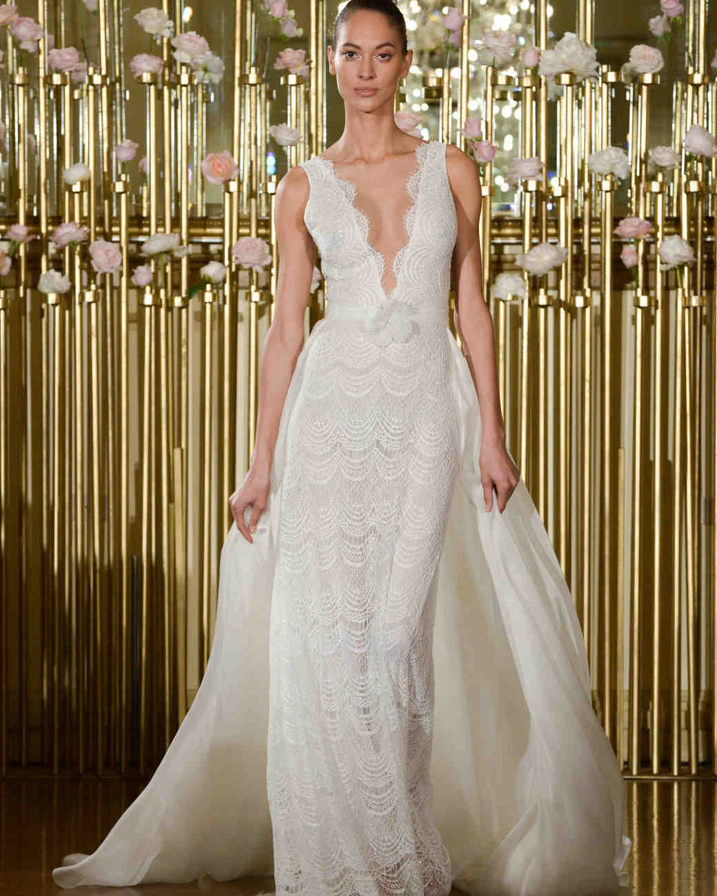 Francesca Miranda Sheath Wedding Dress with V-Neck Spring 2018