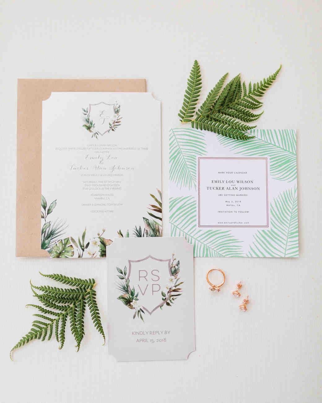 tropical leaf invitation suite