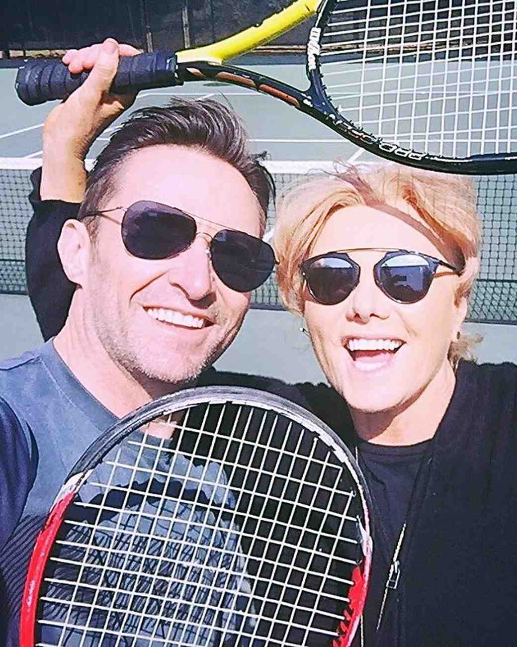 Hugh Jackman and wife Deborra-Lee Furness celebrate their 21st anniversary with a tennis match