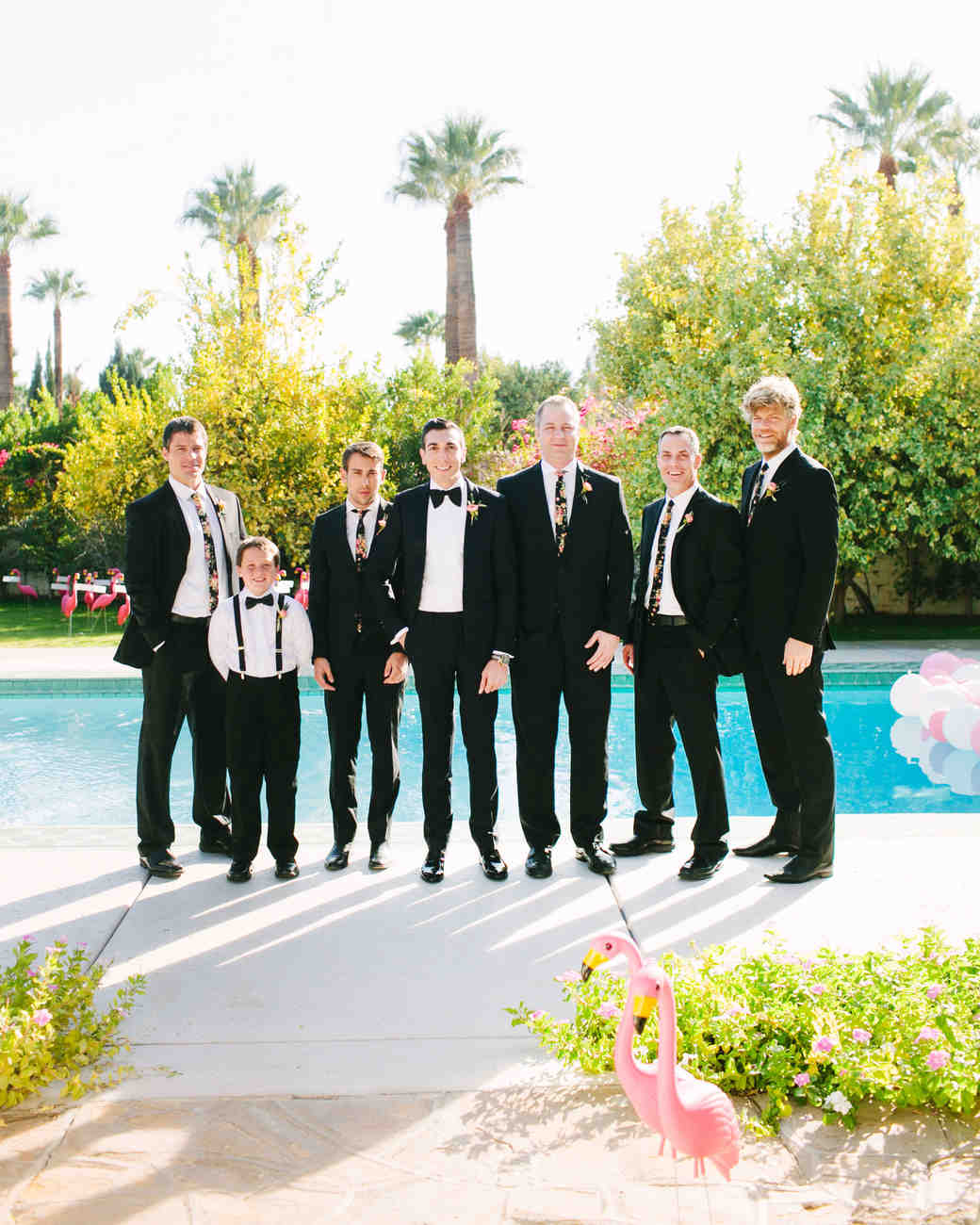 groomsmen by the pool