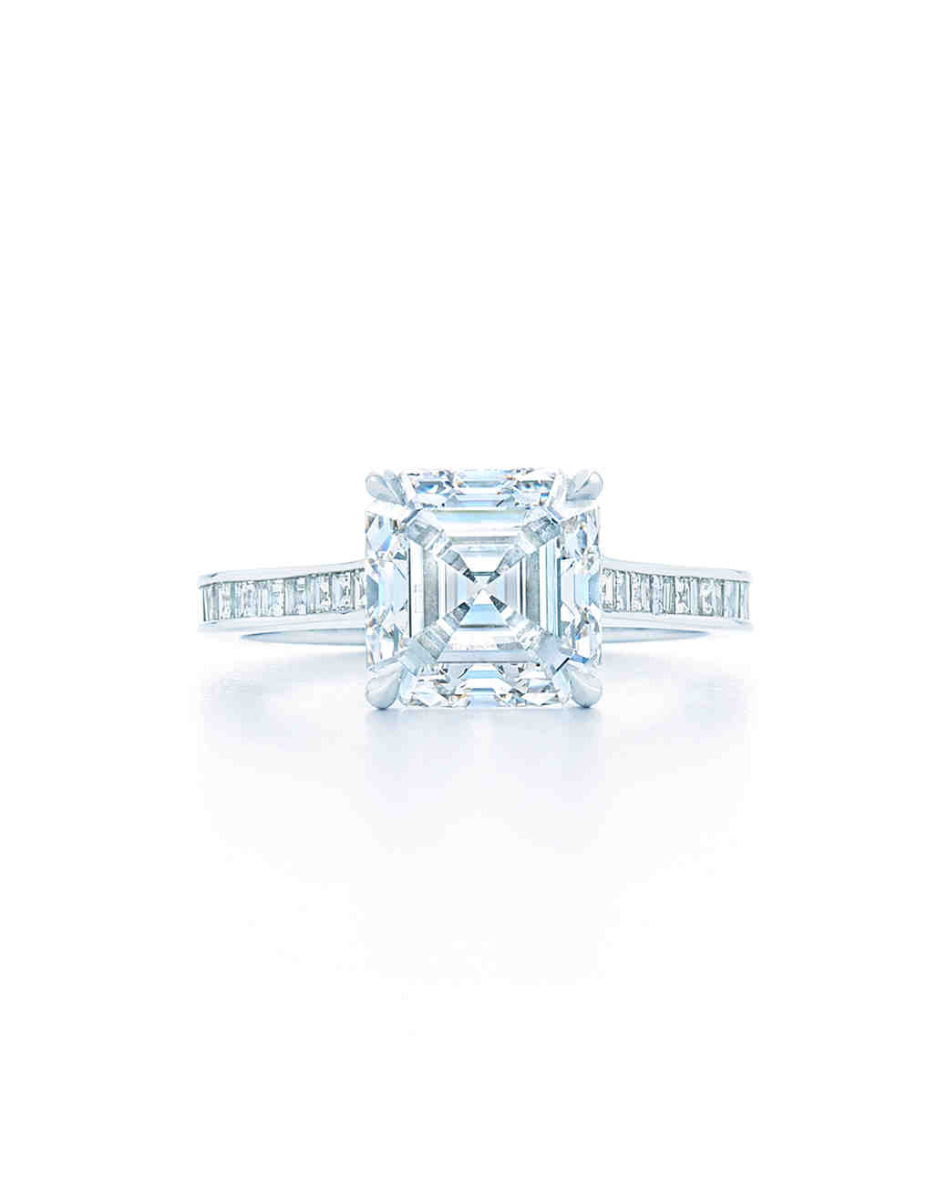 Kwiat Asscher-Cut Solitaire Engagement Ring with Pavé Band