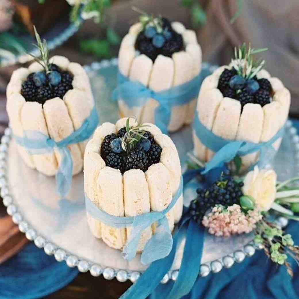Ribbon-Wrapped Berry and Ladyfinger Desserts