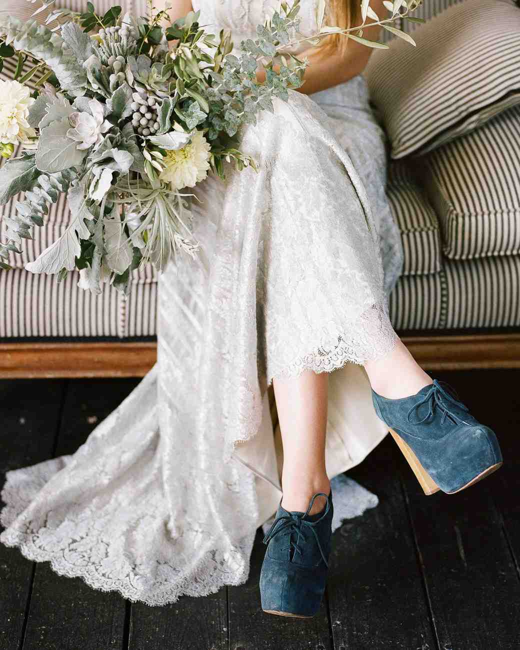 25 Nontraditional Wedding Shoe Ideas From Stylish Brides Martha Stewart Weddings: Wedding Dress With Booties At Websimilar.org
