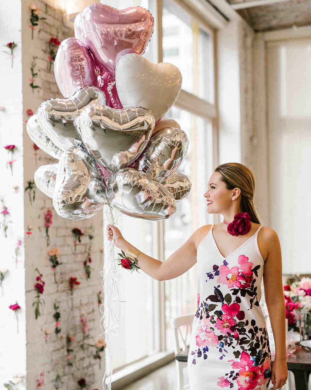 pink bridal shower balloons bride