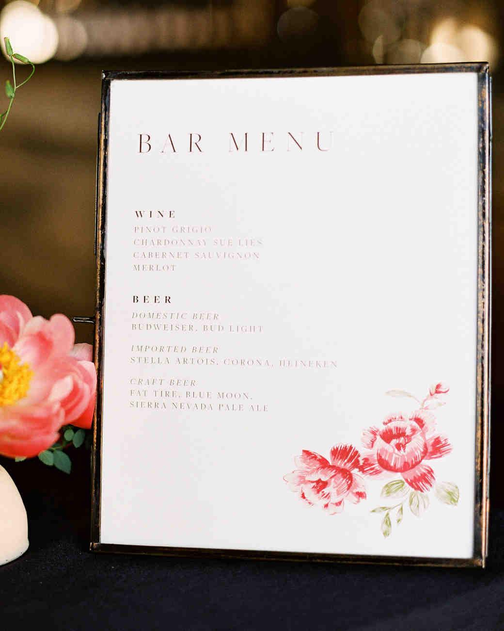 rebecca clay rehearsal dinner bar menu sign