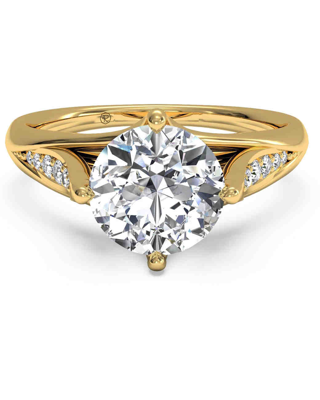 Ritani vintage engagement ring with tulip diamond band